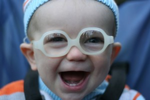 Happy Boy in His Glasses. - 7 months old.