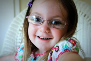 "Baby Girl in her ""Big Girl Glasses"" - 3 years old."