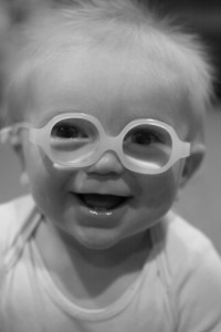 Middle Baby Boy in his First Pair of Glasses - 7 months old.