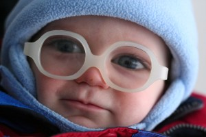 Baby Boy's First Winter With Glasses - 9 months old.