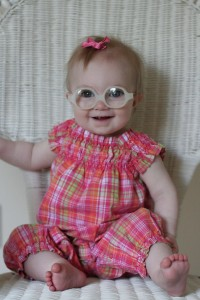 Baby Girl in Her First Pair of Glasses - 6 months old.