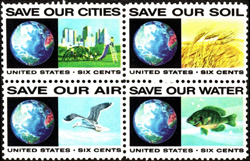 "US Postage stamp block from 1970s - ""Save our..."""