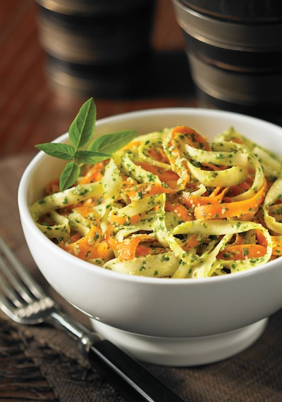 Raw Pesto Coated Carrot Parsnip Fettuccini